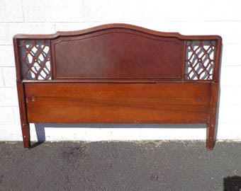Antique Headboard Bed Hollywood Regency French Provincial Neoclassical Shabby Chic Chalk Paint Glam Vintage Glam Wood Bed CUSTOM PAINT AVAIL