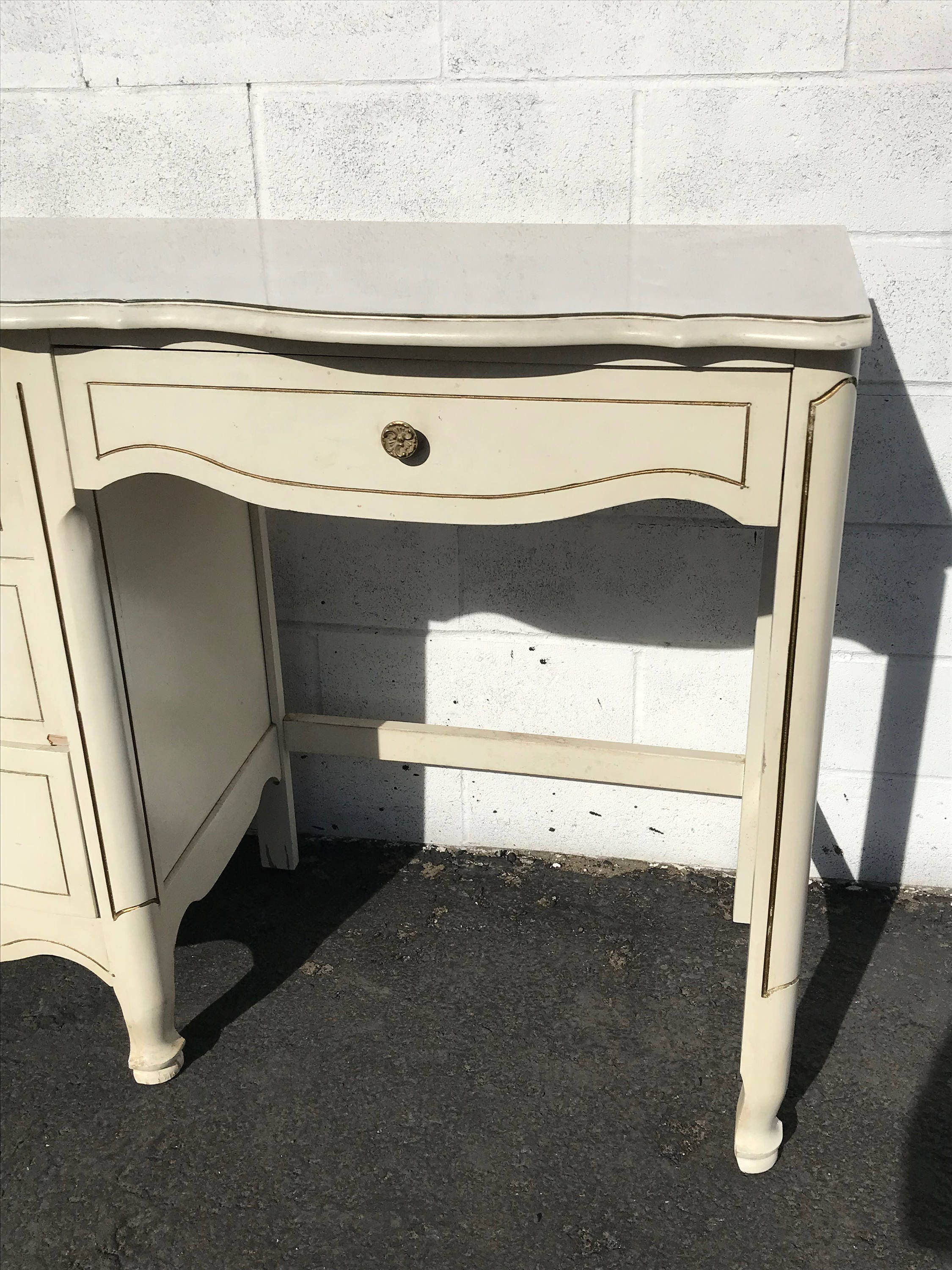 Desk Vanity Table French Provincial Antique Queen Anne
