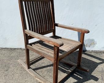 Antique Teak Wood Rocker Armchair Rocking Chair Bohemian Boho Mid Century Modern MCM Glider Cane Wood Chair Nursery CUSTOM PAINT Avail