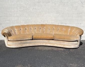 Gorgeous Sofa Hollywood Regency Couch Art Deco Curved Elegant Tufted Mid Century Modern Loveseat Formal Seating Cushions Glam Retro Vintage