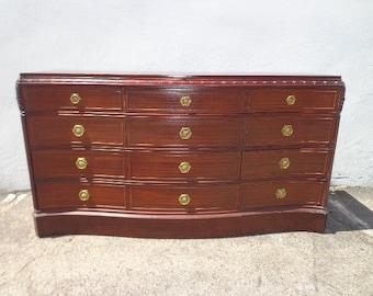 Antique Dresser Mahogany Wood Art Deco Chest of Drawers Wood Furniture Midcentury Mid Century Retro Bedroom storage CUSTOM PAINT AVAIL