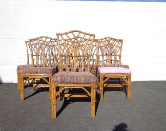 Rattan Chairs Pagoda Style Bohemian Boho Chic Chinese Chippendale Chair Set Regency Seating Woven Coastal Chinoiserie Bamboo Furniture Wood