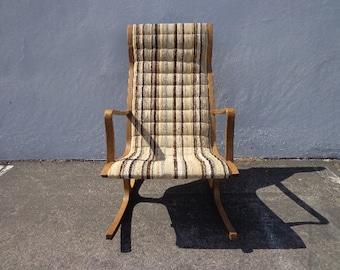 Mid Century Modern Rocking Chair Tendo Mokko Heron Japan Japanese Rocker Armchair Antique Wood Nursery Room Furniture Seating Upholstered