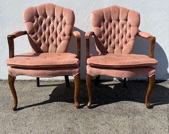 2 Vintage Pink Tufted Armchairs Antique Chairs Seating Wood Country French Provincial Traditional Shabby Chic Seating Vintage Lounge Set