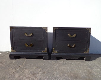 Pair of Nightstands Tables Asian Furniture Asian Bohemian Boho Chinoiserie Cabinet Brass Chinese Wood Campaign Regency CUSTOM PAINT AVAIL