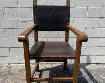 Antique Rustic Armchair Leather Metal Hardware Primitive Style Chair Mission Arts Crafts Seating Wood Farmhouse Retro Boho Bohemian