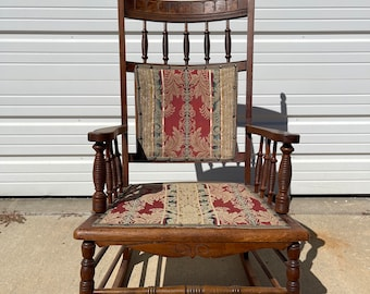 Antique Rocking Chair Rocker Armchair Spindle Traditional Shabby Chic Country Glider Wood Nursery Room Furniture Victorian Shabby Chic