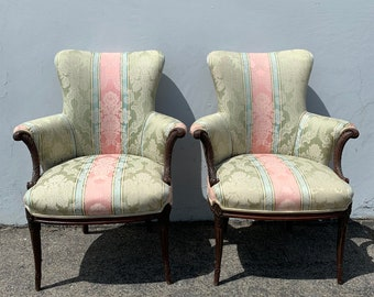 Pair of Chairs Traditional Wingback Armchairs Chair Seating Vintage Wing Back Fan Lounge Victorian Wood English Set High Back Set of Formal