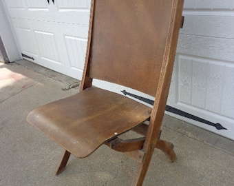 Antique Wood Folding Chair Vintage Country French Theater seating retro game farmhouse rustic seating dining wedding primitive shabby chic