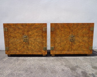 2 Vintage Cabinets Bachelor Chests Henredon Tortie Nightstands Storage Burl Style Chinoiserie Chippendale Brass Bohemian Console Tables