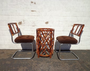 3pc Vintage Rattan Dining Set Boho Chic Wood Table Base 2 Chairs Cantilevered Seating Traditional Vintage Bohemian Peacock Bamboo Style