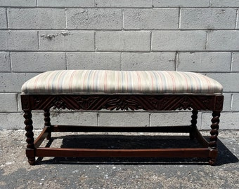 Antique Bench Carved Spindle Wood Traditional Style Stool Ottoman Footstool Footrest Hassock Seating Chair Primitive Retro Boho Bohemian
