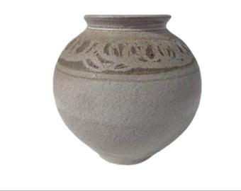 Mid Century Modern Flower Vase Pottery Ceramic Hand Painted Minimalist Bohemian Boho Chic Decor Mod Vintage Retro Serving MCM Display
