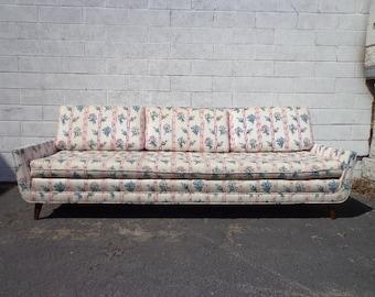 Mid Century Modern Sofa Couch Retro Danish Style Loveseat Seating Wood Legs Cushion Retro Vintage Chair Walnut MCM Clean Line Design