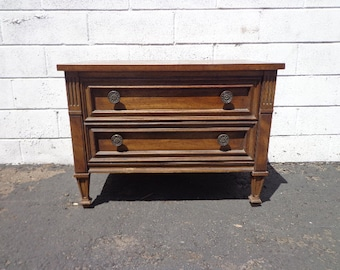 Antique Wood Nightstand Table Drexel Esperanto French Provincial Bombe Shabby Chic Wood Furniture Bedside Bedroom Storage CUSTOM PAINT AVAIL