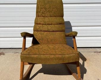 Mid Century Modern Rocking Chair Wood Fabric Retro Rocker Armchair Antique Nursery Room Furniture Seating Upholstered Mod Boho Chic