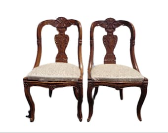 Pair of Antique Chairs Seating Italian Empire Neoclassical Ornate Decorative Victorian Colonial Country French Provincial Vintage Seating