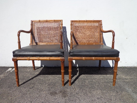 Pair of Chairs Faux Bamboo Chinese Chippendale Accent Hollywood Regency Style Armchairs Seating Coastal Chinoiserie Miami Seating Boho Chic