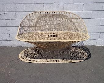 Loveseat Vintage Spun Fiberglass Russell Woodard Chaise Sofa Pool Patio Chair Bench Seating Lounge Mid Century Modern Boho Outdoor Furniture
