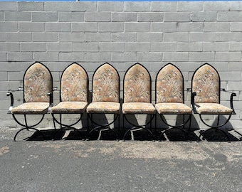 6 Antique Dining Chairs Set Iron Frame Spanish Revival Style Rustic Primitive Thorne Boho Bohemian Vintage Seating Armchair Side Chair