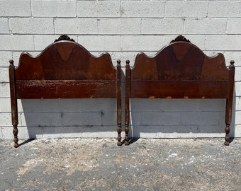 2 Twin Headboards Antique Victorian Shabby Chic French Provincial Bedroom Single Bed Cottage Coastal Neoclassical Country CUSTOM PAINT AVAIL