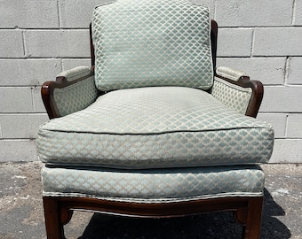 Vintage Armchair Ming James Mont Style Chair Chinese Chippendale Regency Wood Upholstered Chinoiserie Seating Mid Century CUSTOM PAINT AVAIL