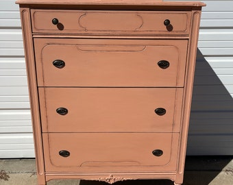 Antique Dresser Tall Boy Highboy Wood Chest Drawers Vintage Shabby Chic Pink Country Bedroom Storage Set Table Painted Chalk Paint