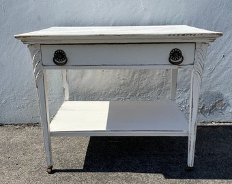 Antique Wood Desk Shabby Chic Traditional  Queen Anne Writing Regency White Vanity Shabby Chic Makeup Table Laptop Stand CUSTOM PAINT AVAIL