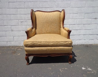 Armchair Antique Chair Bergere Traditional Hollywood Regency Wing Back Seating Lounge Wingback Seating Accent Captains Seat Furniture Wood
