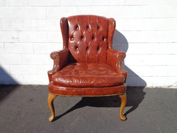 Stupendous Leather Wingback Chair Tufted Armchair Chesterfield Handsome Rustic Chippendale Cognac Brown Mid Century English Wingback Lounge Seating Mcm Short Links Chair Design For Home Short Linksinfo