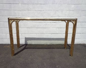 Faux Bamboo Console Table Brass Gold Bohemian Boho Chic Sofa Accent Stand Chippendale Chinese Palm Beach Chinoiserie Hollywood Regency Beach