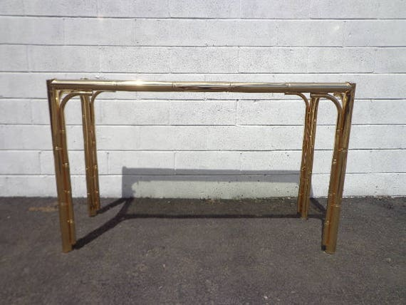 Remarkable Faux Bamboo Console Table Brass Gold Bohemian Boho Chic Sofa Accent Stand Chippendale Chinese Palm Beach Chinoiserie Hollywood Regency Beach Ibusinesslaw Wood Chair Design Ideas Ibusinesslaworg