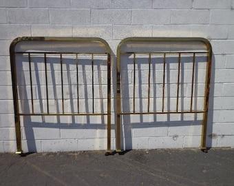 Pair of Headboards Twin Bed Single Headboard Brass Gold Furniture Bedroom Hollywood Regency Mid Century Modern Vintage Glam Boho Bohemian