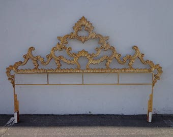 Headboard Hollywood Regency Bed Gold Brass French Provincial Glam Baroque Rococo Italian Coastal Chic Glamour Ornate Bohemian Boho Chic