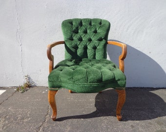 Armchair Green Formal Chair Wood Tufted Vintage French Bergere Lounge Regency Shabby Chic Seating Mid Century Chic Decor Neoclassical Boho
