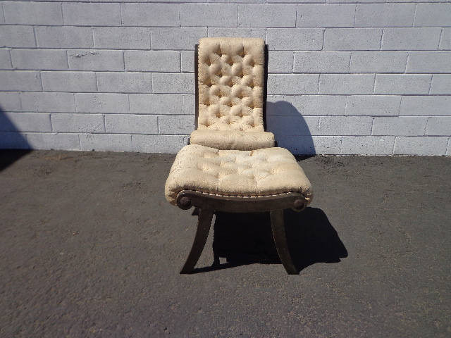 Slipper Chair Ottoman Obi Japanese Chinese Chippendale Asian Vintage