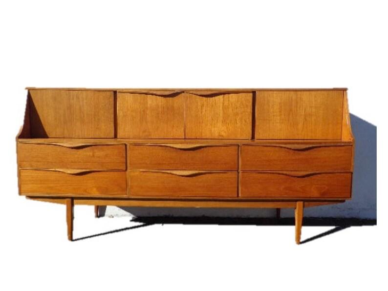 Mid Century Modern Danish Credenza : Mid century modern danish tv media console sideboard furniture etsy