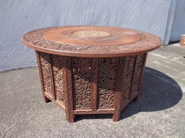 Anglo Indian Inlaid Carved Teak Table MCM Antique Tray ...
