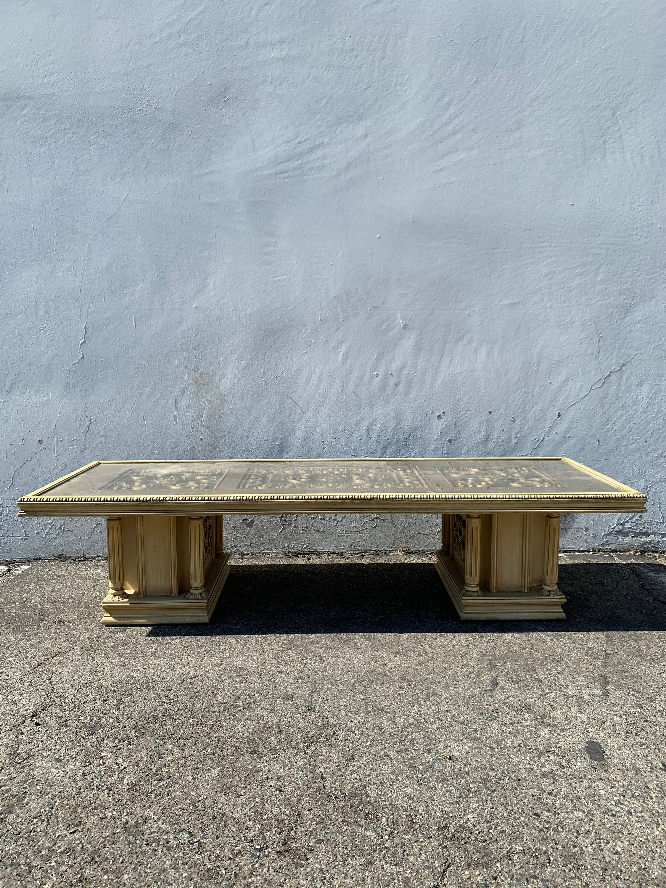 Antique Coffee Table Baroque Rococo Formal Hollywood Regency Beach Florentine Chippendale Coastal Boho Chic Wood Vintage Custom Paint Avail