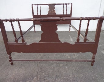 Antique Bed Shabby Chic Primitive Rustic French Provincial Headboard Bed Frame Wood Vintage Bedroom Furniture Country CUSTOM PAINT AVAILABLE