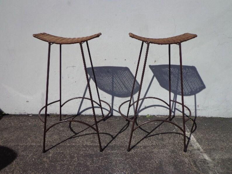 Bar stools arthur umanoff eames era vintage steel wicker etsy