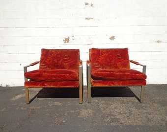 2 Chairs Milo Baughman Thayer Coggin Mid Century Modern MCM Pair of Armchairs Chrome Loungers Cube Sling Scoop Seating Wood Living Room