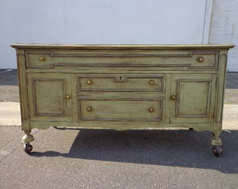 Antique Wood Cabinet Buffet Bar Tea Cart Console Low Table Rustic Farm Primitive Shabby Chic Storage Vintage Wood CUSTOM PAINT AVAIL