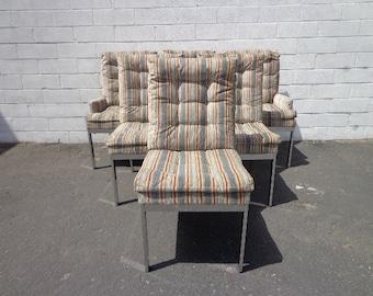 6 Dining Chairs Milo Baughman DIA Chrome Set Mid Century Modern MCM Hollywood Regency Boho Chic Vintage Set of Chair Seating Armchair Design