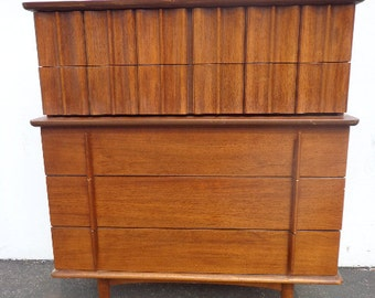 MCM Dresser United Furniture Chest of Drawers Mid Century Modern Wood Finish Bedroom Set Danish Eames Media Console Cabinet Highboy Tallboy