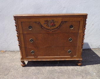 Antique Country French Dresser Table Bachelor Chest Neoclassical Furniture Bedroom Shabby Chic Wood Berkey and Gay  CUSTOM PAINT AVAIL