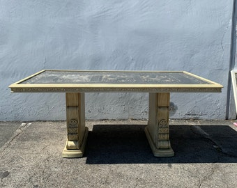 Antique Dining Table Baroque Rococo Kitchen Hollywood Regency Beach Florentine Chippendale Coastal Boho Chic Wood Vintage CUSTOM PAINT AVAIL