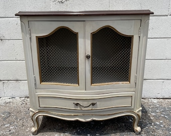 Vintage French Provincial Nightstand Bedside Table Gold Bachelor Chest Neoclassical Furniture Console Bedroom Shabby Chic CUSTOM PAINT AVAIL