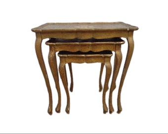 Nesting Tables Venetian Florentine Neoclassical Italian Gold Gilt Accent Side End Wood Rococo Baroque Shabby Chic Vintage Nightstand Antique