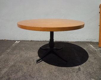 Dining Table Mid Century Modern Traditional Milo Baughman Inspired Wood Metal Retro Regency Vintage Midcentury Chair Seating Round Table
